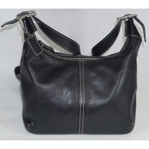 Coach Black Leather Hobo Bag Tan Stitching